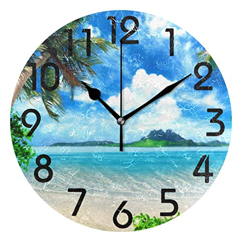 Naanle 3D Stylish Tropical Palm Tree Island Summber Bach Print Round Wall Clock Decorative, 9.5 Inch Battery Operated Quartz Analog Quiet Desk Clock for Home,Office,School ()