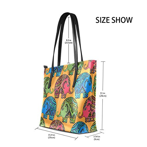 Fashion Tribal Totes Handbag Women's Top Purses Shoulder Indian Bags TIZORAX PU Handle Elephants Leather wfCqCTUY