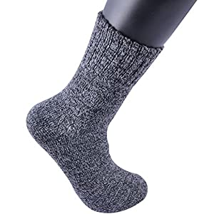 Areke Men's Warm Wool Crew Socks, Vintage Soft Thick Knit Casual Soxs Color 6Pack Black Size US Shoe Size 6-12