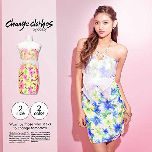(チェンジクローズ) change clothes オーガンジーリボン付トロピカルフラワーベアタイトミニドレス ワンピ 香川沙耶着用 レディース