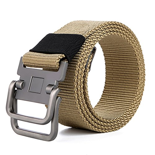 BULUOLANDI Military Casual Outdoor Tactical Webbing D-ring Canvas Belt for Men