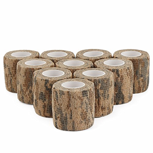 DROK 10 Pcs 14.76ft Long Camo Self-adhesive Elastic Bandage, Desert Camouflage Non-woven Fabric Flexible Protective Tape, Multifunctional Stealth Tape Flashlight Knife Handle Grip Tape for Hunting Desert Camouflage Fabric