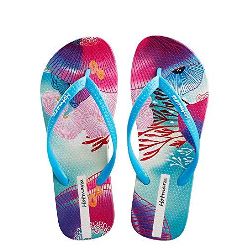 EU Bleu on Chaussures 42 EVA Bascule Taille Slip ZHRUI coloré Toe Clip Flat colorée Blanc q7wO086