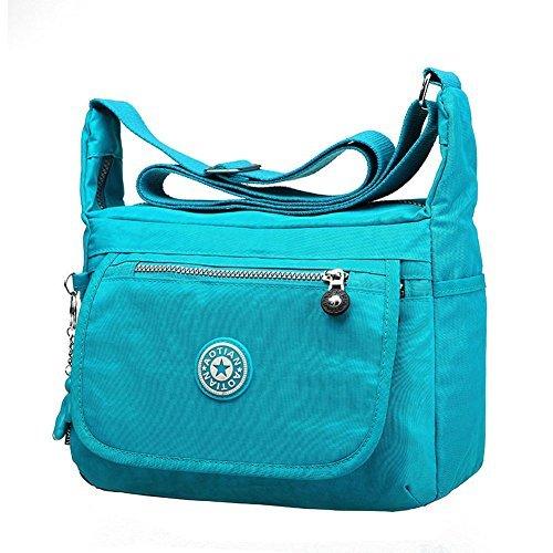 BSTcentelha Womens Girls Waterproof Nylon Leisure Messenger Bags Cross Body Bag Shoulder Bags (Sky - Mall Sky