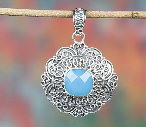 (Blue Chalcedony Pendant, 925 Sterling Silver, Cushion Shape Pendant, Antique Pendant, Faceted Stone Pendant, Floral Shape Pendant, Anniversary Gift Jewelry, One Of A Kind, Victorian)