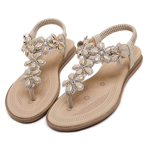 iCKER Womens Thong Flat Sandals Beach Rhinestone Shiny Beads Rhinestone for Summer Holiday ()