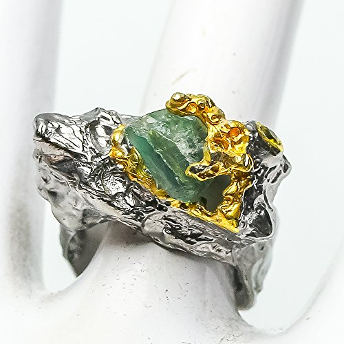 - Handmade Fine Art Jewelry Natural Rough Apatite Size 8 us Sterling Silver 925