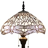 Tiffany Style Floor Standing Lamp 64 Inch Tall White Clear Stained Glass Shade Crystal Bead Dragonfly 2 Light Antique Base for Bedroom Living Room Reading Lighting Table Set S521W WERFACTORY