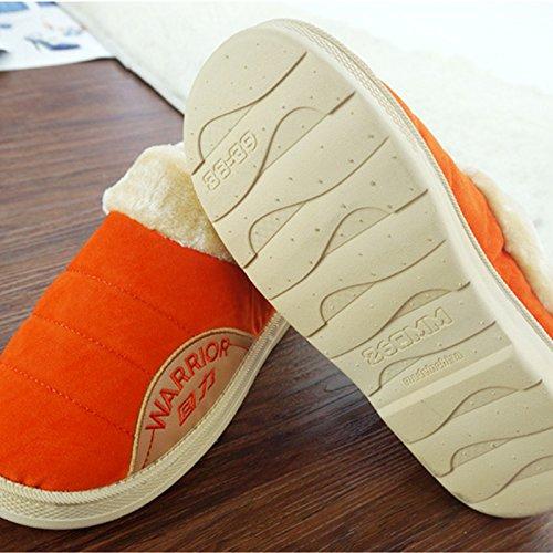 CWAIXXZZ pantofole morbide Inverno pacchetto coppie con uomini pantofole di cotone femmina impermeabili spessa pelle pu home scarpe indoor scarpe caldo per 39-40),76 ,40/41( arancione
