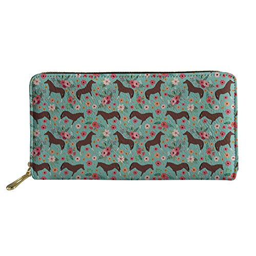 (Bigcardesigns Horse Print Trendy Wallet Women Durable Portable Long Clutch)