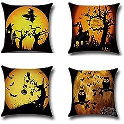 BPFY 4Pack Happy Halloween Bat Pumpkin Cushion Covers Cotton Linen Sofa Home Decor Throw Pillow Case Halloween Pillow Covers 18x18 Inch