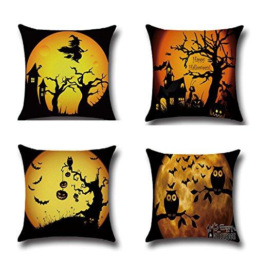 LEIOH 4Pack Happy Halloween Bat Pumpkin Pillow Covers Cotton Linen Sofa Home Decor Throw Pillow Case Cushion Covers 18 X 18 Inch
