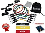 WORKOUT BANDS ( Resistance Bands & Loop Bands ) by RockFit Health. PREMIUM 15 PIECE SET (Handles, Ankle Straps, Door Anchor, Carrying Case, User Guide) FREE E-BOOK & BONUS LOOP BANDS!! GET FIT TODAY!