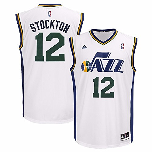 Jersey Utah (John Stockton Utah Jazz NBA Adidas Men's White Replica Jersey (L))