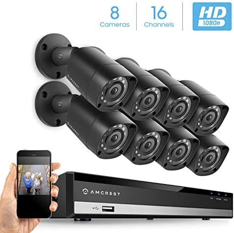 Amcrest HD 1080-Lite 16CH Video Security System w 8 x 1MP Ip67 Outdoor Bullet Cameras