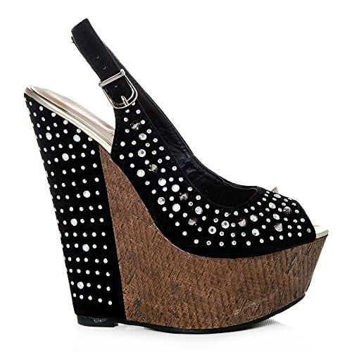 Sling High Heeled Wedge Sandals Black Peep Ladies Womens Back Toe Yq4Rff