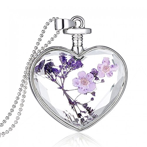 Gmai Glass Heart Pendant Purple Dried Flower -