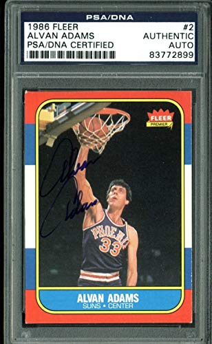 - Suns Alvan Adams Authentic Autographed Signed 1986 Fleer Autographed Signed #2 Auto Card - PSA/DNA Authentic
