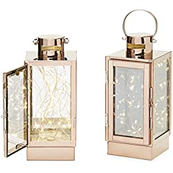 Rose Gold Flameless Lanterns, 30 Fairy LEDs, Copper Wire, Timer Option and Batteries Included - Set of 2