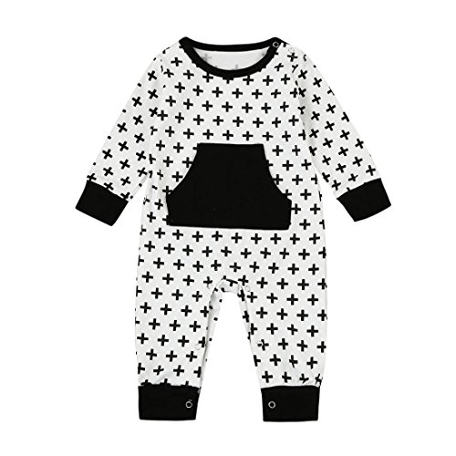 Winsummer Toddler Baby Boy Girl Letter Dinosaur Romper Bodysuit Outfit Winter Warm Jumpsuit Tops Pajamas Clothes Set (0-6M, White #1)