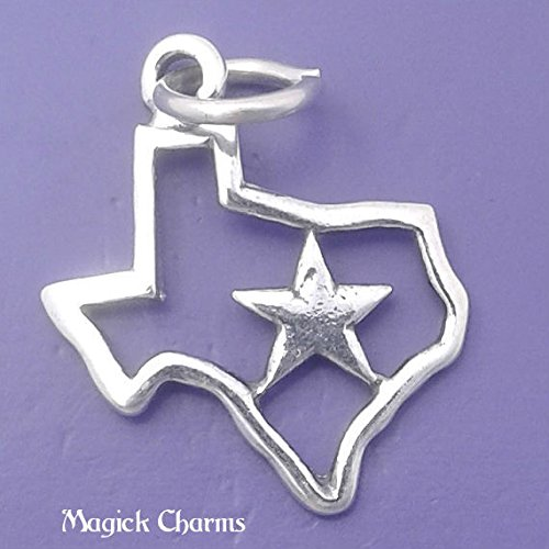 (925 Sterling Silver Texas State Outline with Star Charm Pendant Jewelry Making Supply, Pendant, Charms, Bracelet, DIY Crafting by Wholesale Charms)