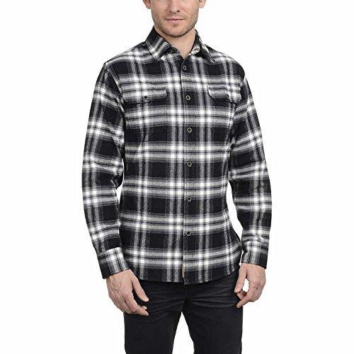 Jachs Men's Brawny Flannel Shirt (Black/Grey/White, Large) ()