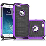 iPhone 6S Case, Tekcoo(TM) [Tmajor Series] iPhone 6 / 6S (4.7 INCH) Case Shock Absorbing Hybrid Best Impact Defender Rugged Slim Cover Shell w/ Plastic Outer & Rubber Silicone Inner [Purple/Black]