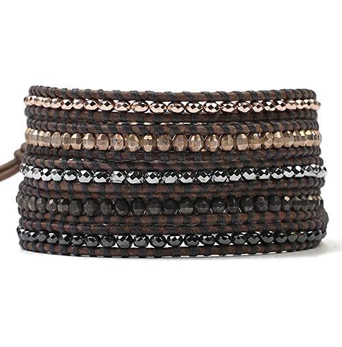 Chan Luu Multi Color Metallic Nugget Bead Natural Brown Leather Silvertone Wrap Bracelet