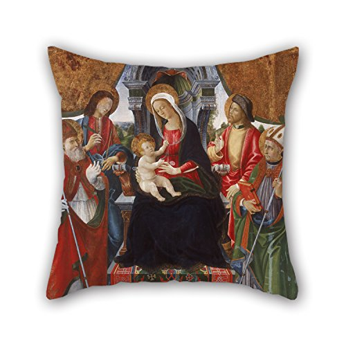 [Uloveme 16 X 16 Inches / 40 By 40 Cm Oil Painting Lucchese School Late 15th Century - Virgin And Child With Saints Nicholas, Sebastian, Roch And Martin Cushion Cases ,2 Sides Ornament And Gift To] (Bull Rider Costume Toddler)