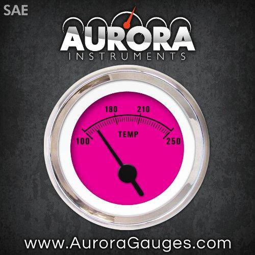 Aurora Instruments 1456 Rider Pink SAE Water Temperature Gauge Black Vintage Needles, Chrome Trim Rings, Style Kit Installed
