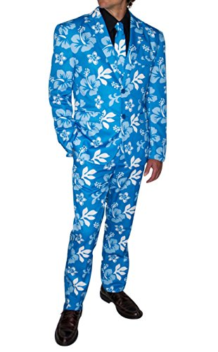 Stir Clothing Co. Big Kahuna Mens Hawaiian Floral Print Party Suit with Adjustable Hem Tape (40, Blue Hibiscus)]()