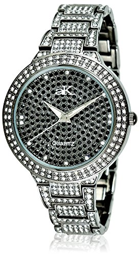 Adee Kaye Women's 9-69LIPB/CR Crystal Collection Crystal & Brass Watch