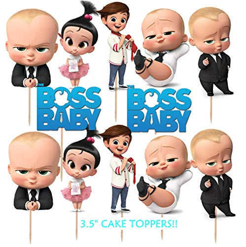 12pc New Boss Baby Cupcake Cup Cake Topper Toppers Party Supplies Decorations Balloon Balloons Favors Goody Bags Centerpiece
