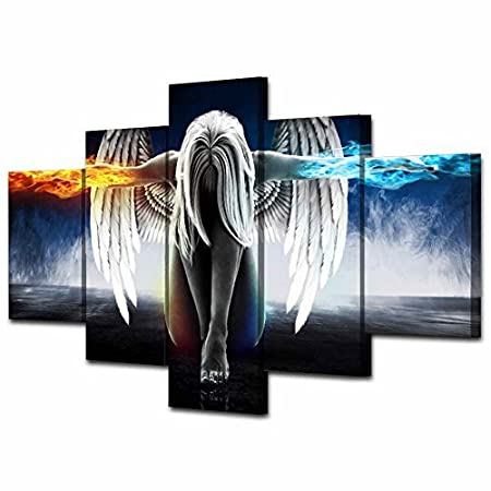 5D Diamond Painting-NACOLA 5 Pieces Set Crystals Painting Kits Arts for Home Decoration Cross Stitch Painting-Angel With Wings