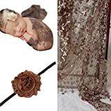 Infant Newborn Baby Tassel Lace Cocoon Swaddle Wrap + Flower Headband Photography Prop Coffee