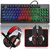 MFTEK RGB Rainbow Gaming Keyboard and Mouse Combo, LED PC Gaming Headset with Microphone, Large Mouse Pad, 87 Keys USB Wired Programmable Keyboard for Computer Gamer Office