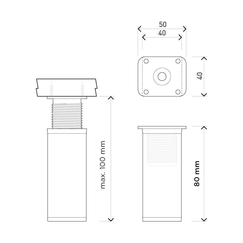Hauteur : 80mm Forme angulaire: 40 x 40 mm Vis inclus +20mm r/églables Sossai MFV1-BL Pieds de meubles lot de 4 Design: Noir | Mat/ériel : 100/% aluminium