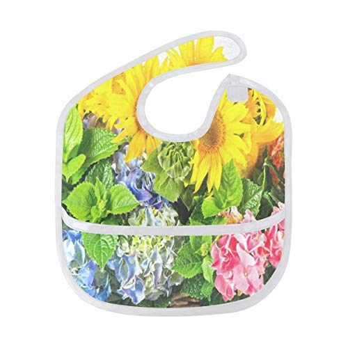 Baby Bibs Sunflowers And Hortensia Blossoms Large Drool Bibs for Girls Toddler Bib/Smock