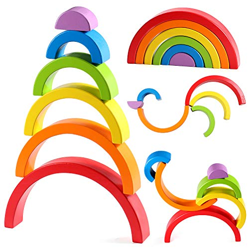 Lewo Wooden Rainbow Stacker Large Nesting Puzzle Blocks Educational Toys for Kids Baby Toddlers (Grimms Extra Large 12 Piece Rainbow Stacker)