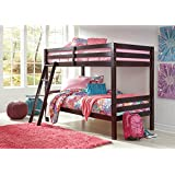 Signature Design by Ashley Halanton Dark Brown Twin Over Twin Bunk Bed with Ladder