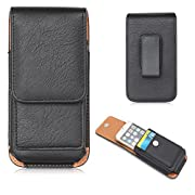 Amazon Lightning Deal 78% claimed: Premium Leather Iphone 6s 6 plus Case Holster With Belt Clip,Vertical Smartphone Belt Pouch,Note 5 Lg G4 Belt Holster,Waist Phone Bag ,Card holder+ Hwin Keychain