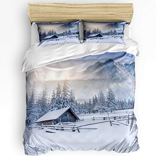 (3 Piece Bedding Set Queen, Snow Mountain Old Snowy Farmhouse Duvet Cover Set for Girls Boys Children Adult, Ultra Soft and Easy Care Sheet Quilt Sets with Decorative Pillow Covers)