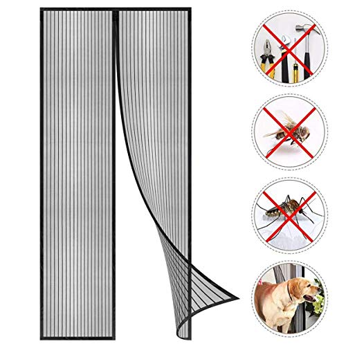 GOUDU Magnetic Fly Screen Door Screen Magnets Anti Mosquito Bugs Patio Door for Keep Bugs Fly Out - Black 125x240cm(49x94inch) (Patio Door Inch 94 Sliding)