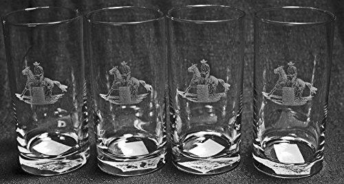 (Muddy Creek Reflection Rodeo Lady Barrel Racer Laser Etched Cooler Tumbler Glass Set (4, Cool))