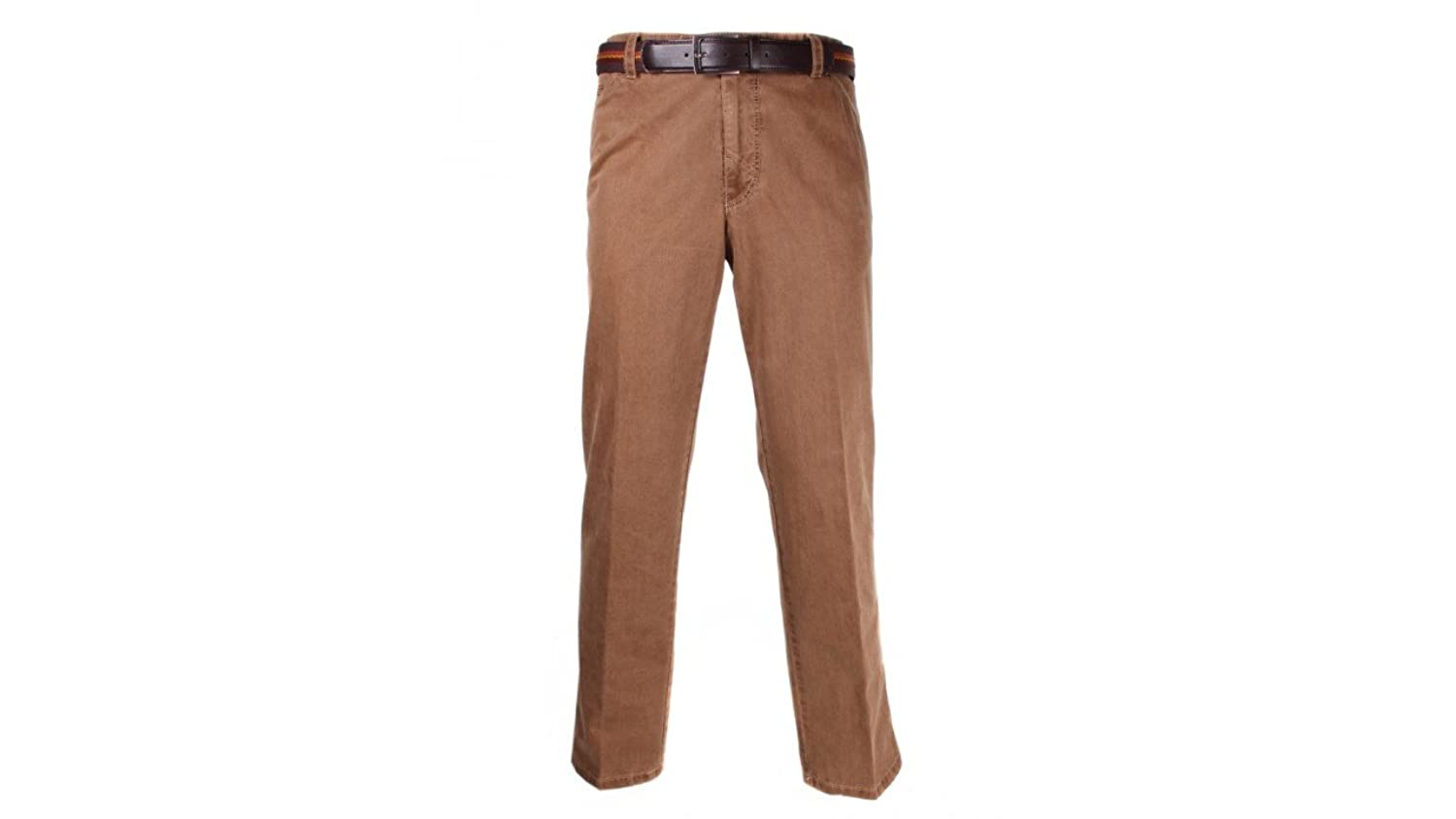 Meyer Mens Chicago Cotton Textured Trousers Brown