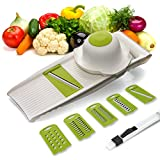 Vegetable Mandoline Slicer Food Grater, 5-in-1 Grade Stainless Steel Razor Blade. BPA Free, Hand Guard, Cleaning Brush Included. AIR Kitchen (white)