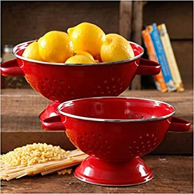 The Pioneer Woman Flea Market 2-Pack Metal Colander, 3-Quart and 5-Quart, Red