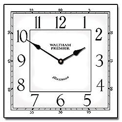 Waltham White Square Clock, 12-48, Whisper Quiet, non-ticking