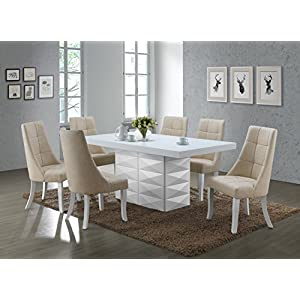 Kings Brand 7 Piece White Modern Rectangle Dinette Dining Room Table with Chairs