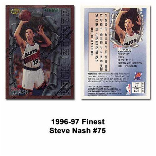 1996-97 Topps Finest # Phoenix Suns Steve Nash Rookie Card (Steve Nash Card)